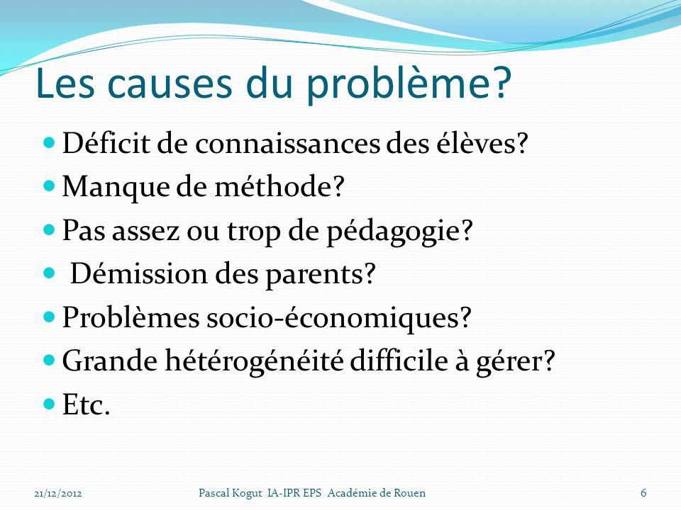 Les causes du problème Déficit de connaissances des élèves