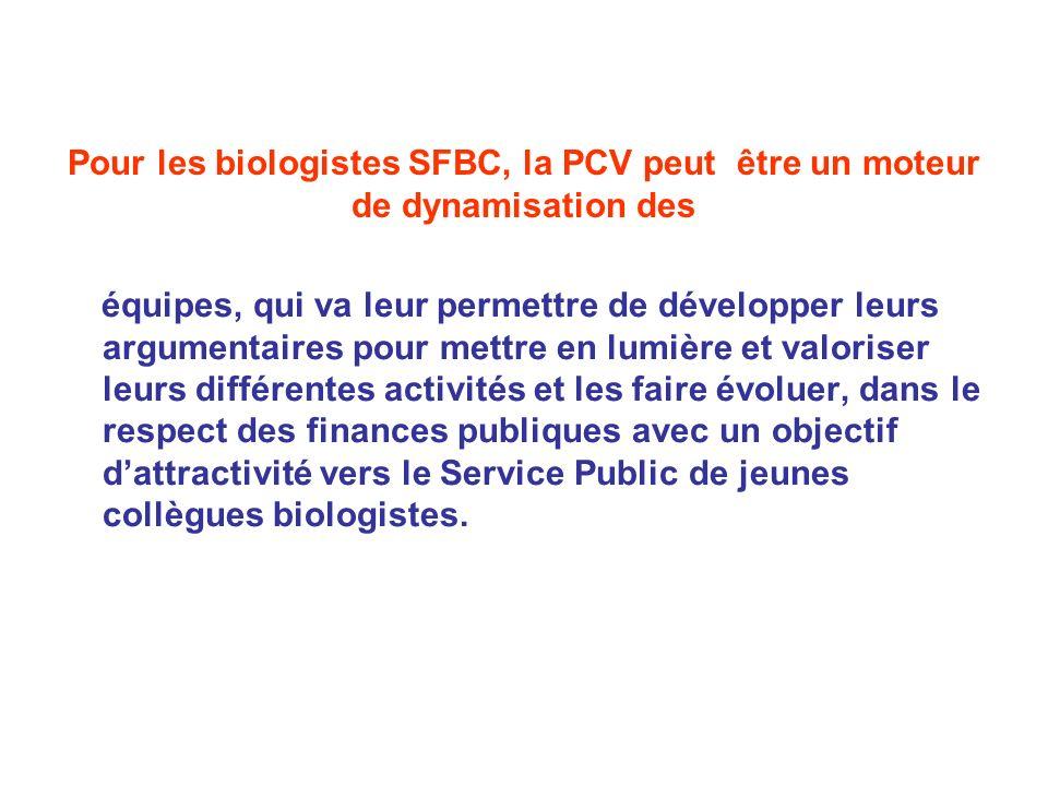 Pour les biologistes SFBC, la PCV peut être un moteur de dynamisation des