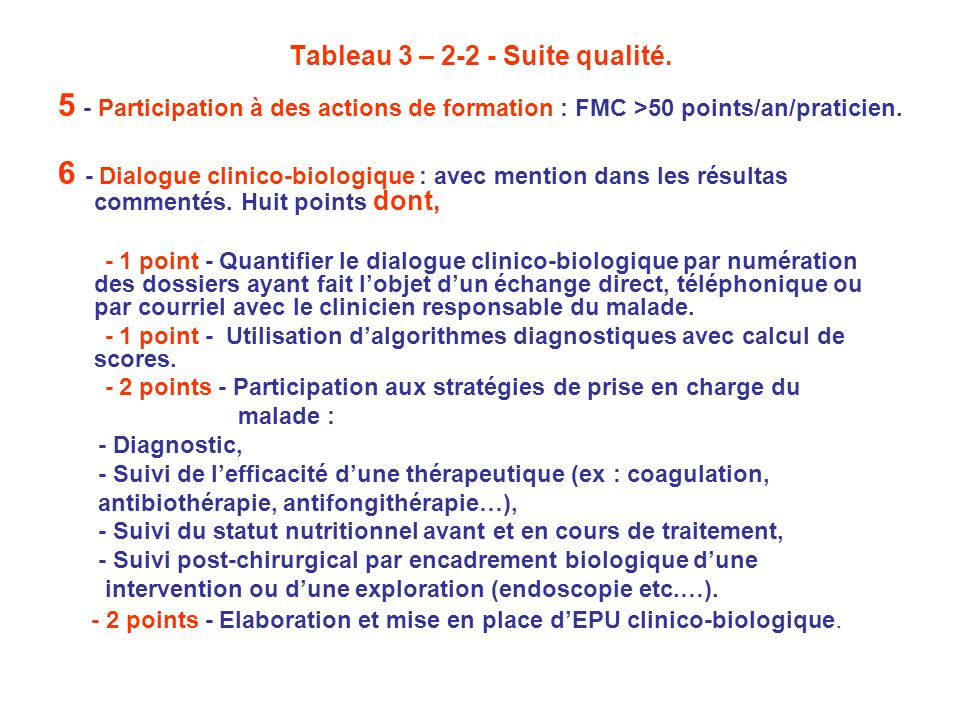 Tableau 3 – 2-2 - Suite qualité.