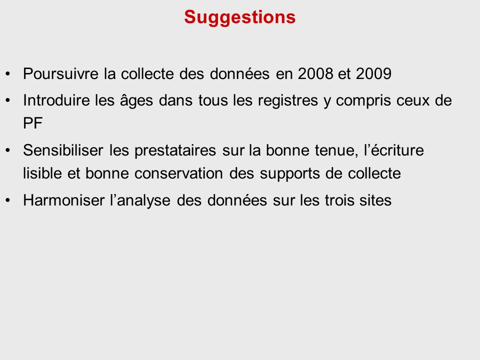 Suggestions Poursuivre la collecte des données en 2008 et 2009