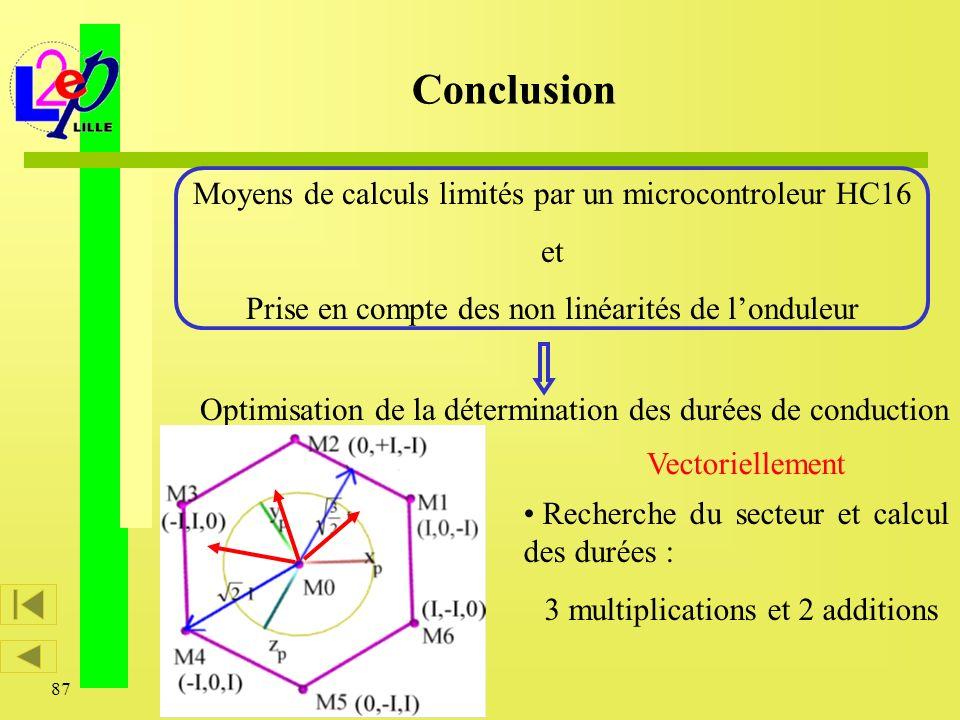 Conclusion Moyens de calculs limités par un microcontroleur HC16 et