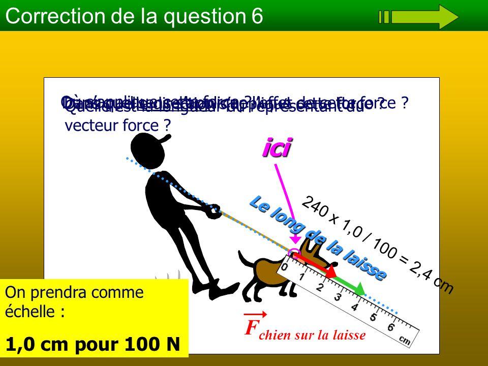 ici Correction de la question 6 Fchien sur la laisse 1,0 cm pour 100 N