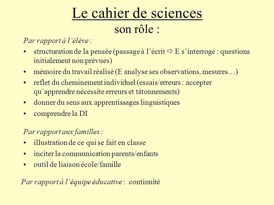 Le cahier de sciences son rôle :