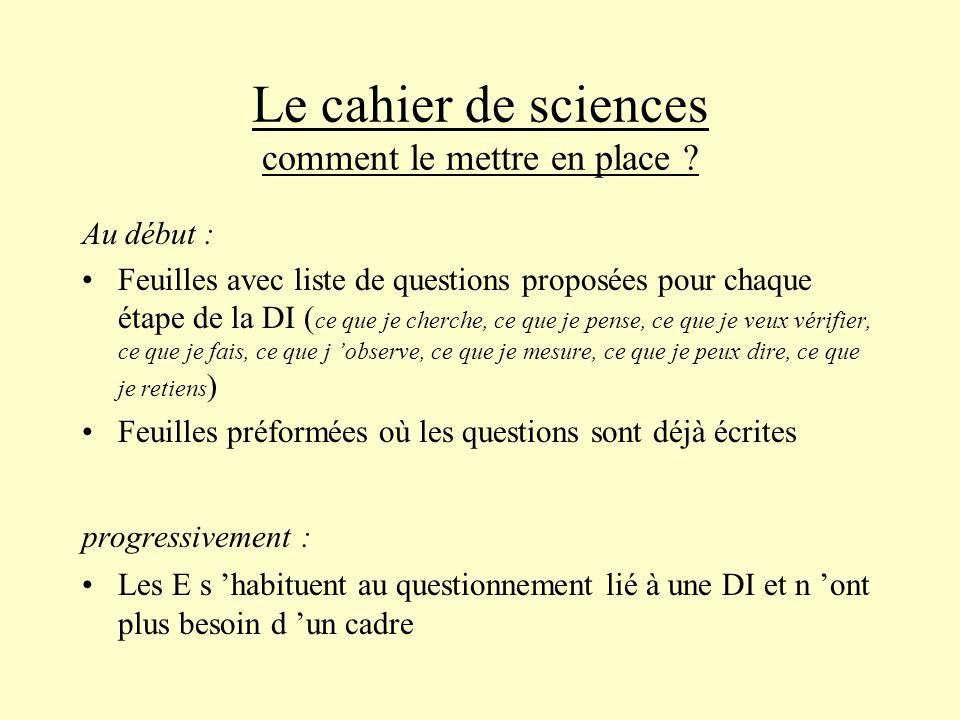 Le cahier de sciences comment le mettre en place