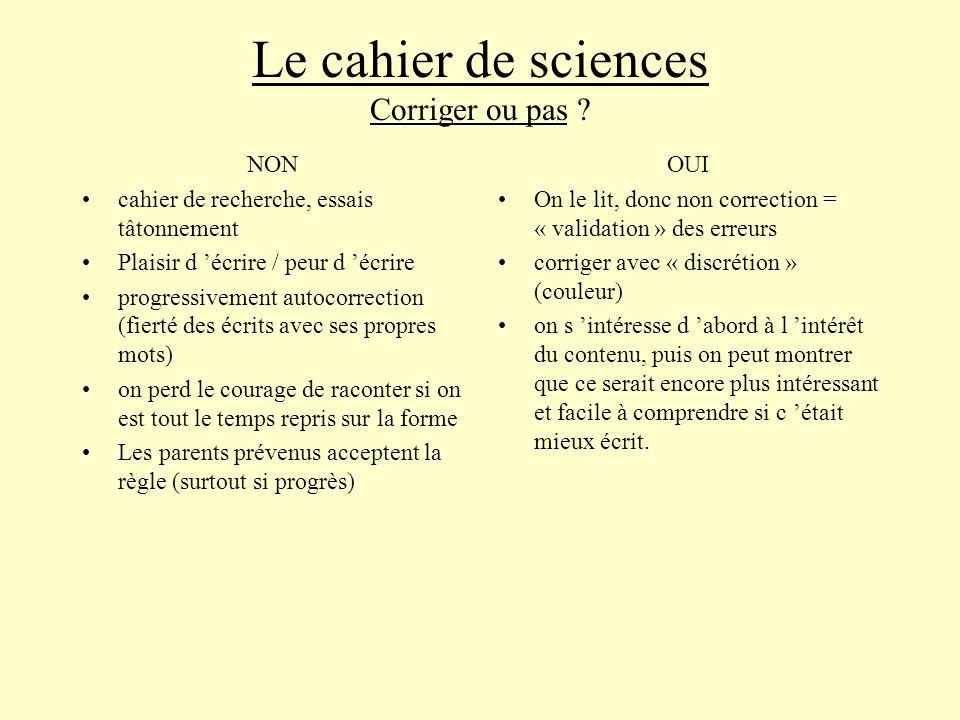 Le cahier de sciences Corriger ou pas