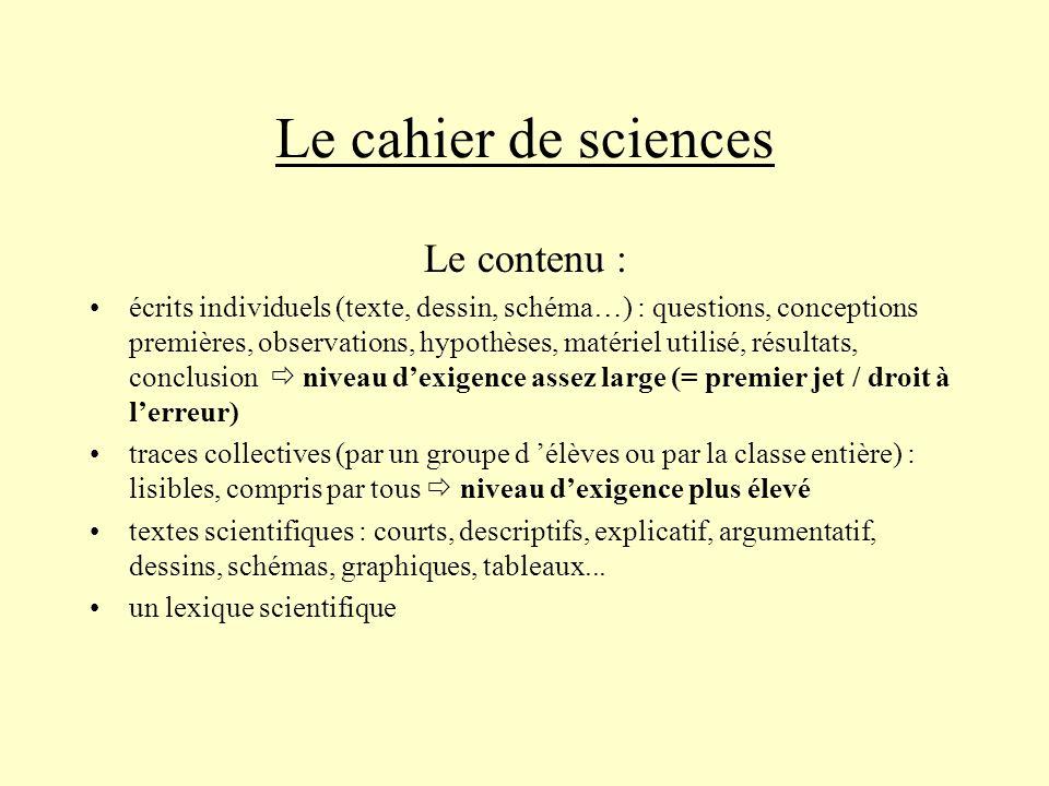 Le cahier de sciences Le contenu :