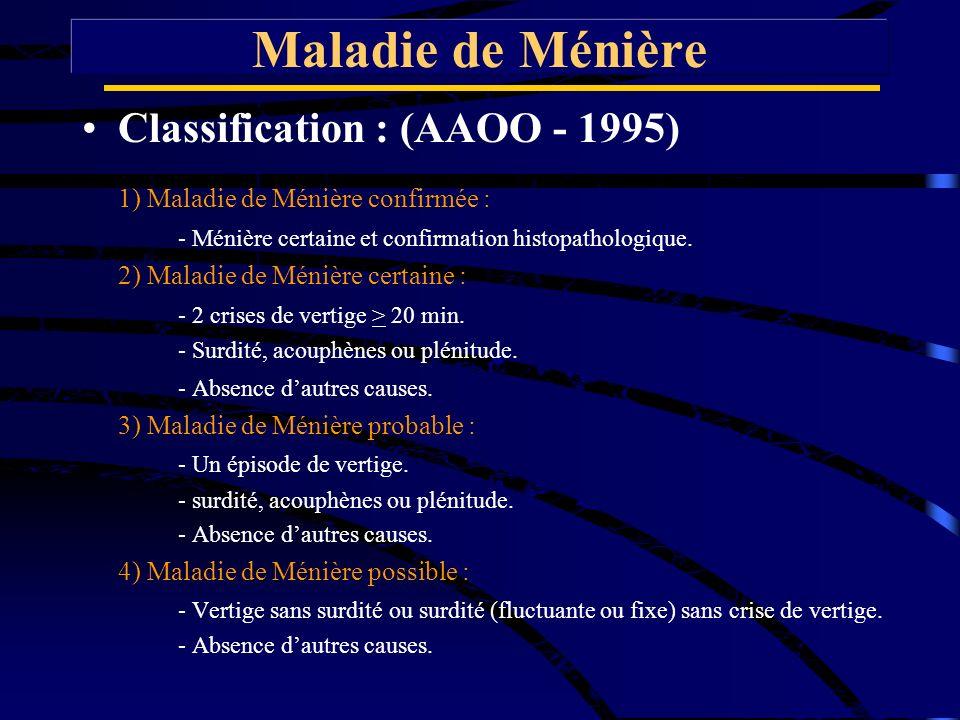Maladie de Ménière Classification : (AAOO - 1995)