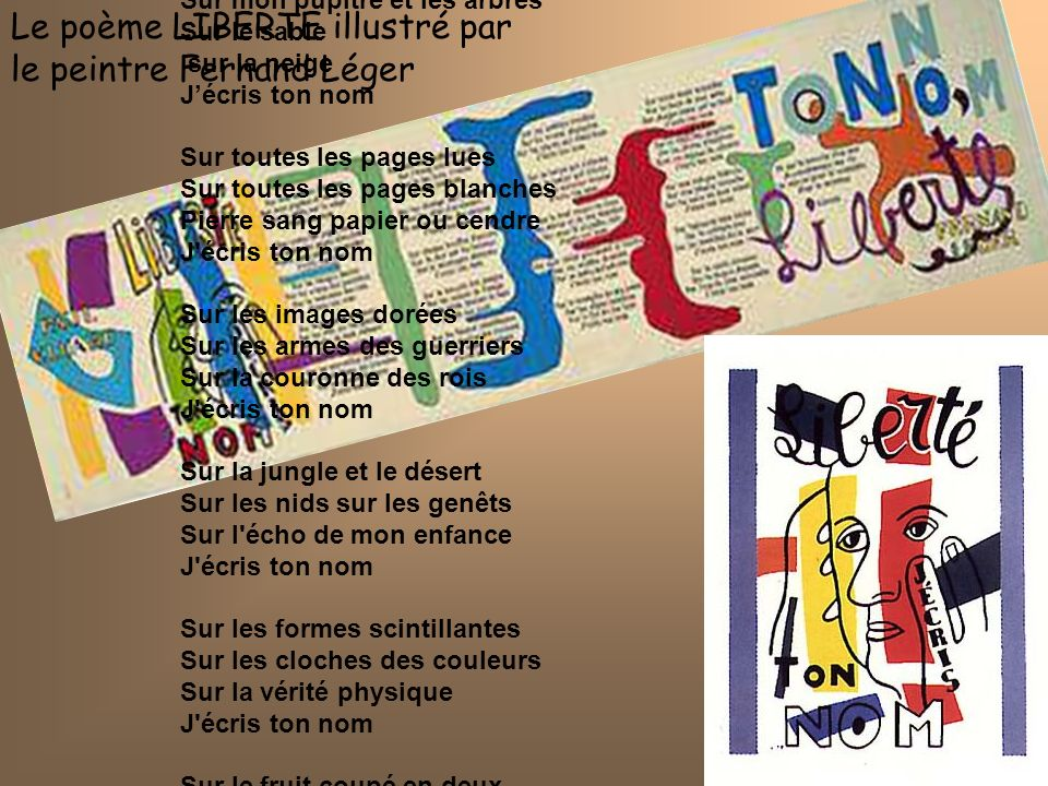Le poème LIBERTE illustré par le peintre Fernand Léger