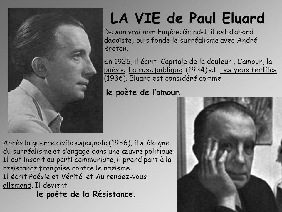 LA VIE de Paul Eluard De son vrai nom Eugène Grindel, il est d'abord dadaïste, puis fonde le surréalisme avec André Breton.