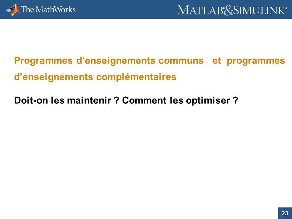 Programmes d'enseignements communs et programmes d'enseignements complémentaires