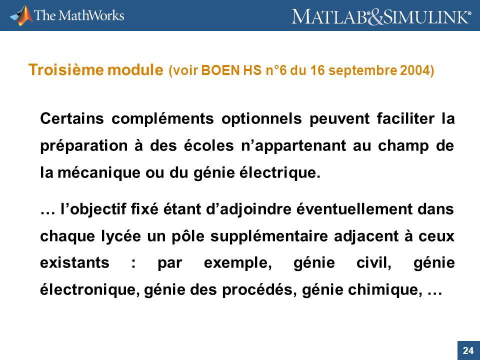 Troisième module (voir BOEN HS n°6 du 16 septembre 2004)