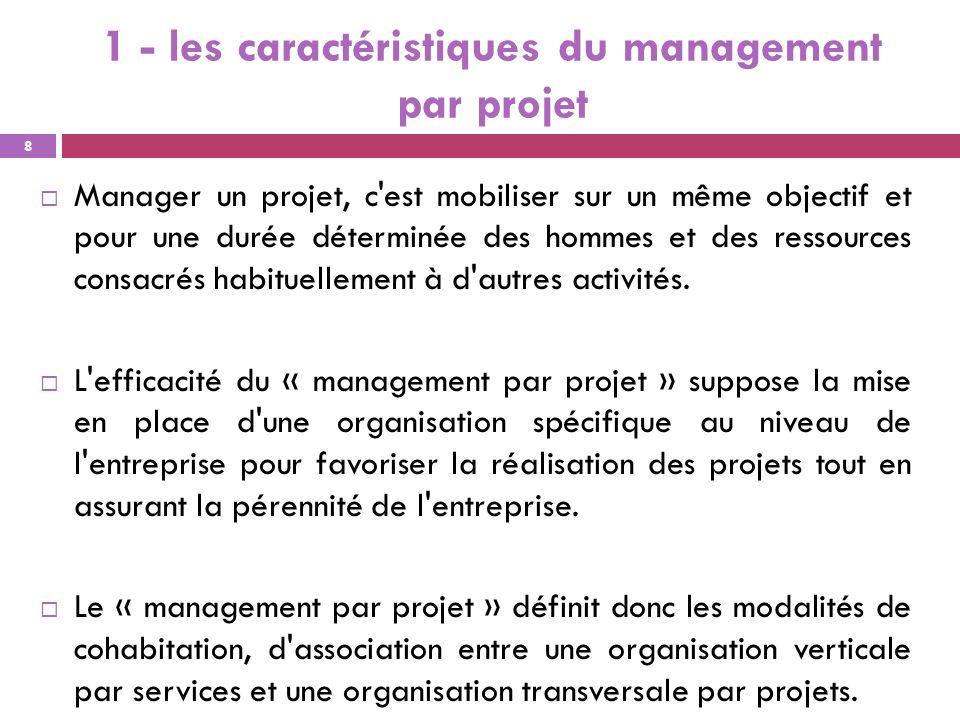 1 - les caractéristiques du management par projet
