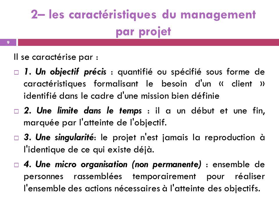 2– les caractéristiques du management par projet