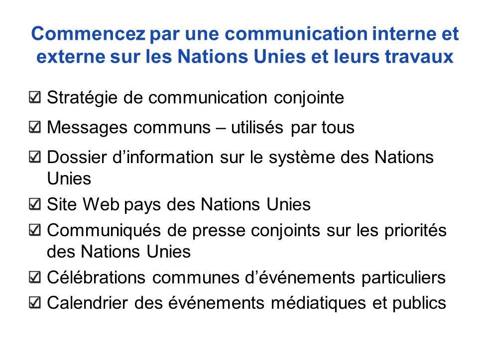 Commencez par une communication interne et externe sur les Nations Unies et leurs travaux