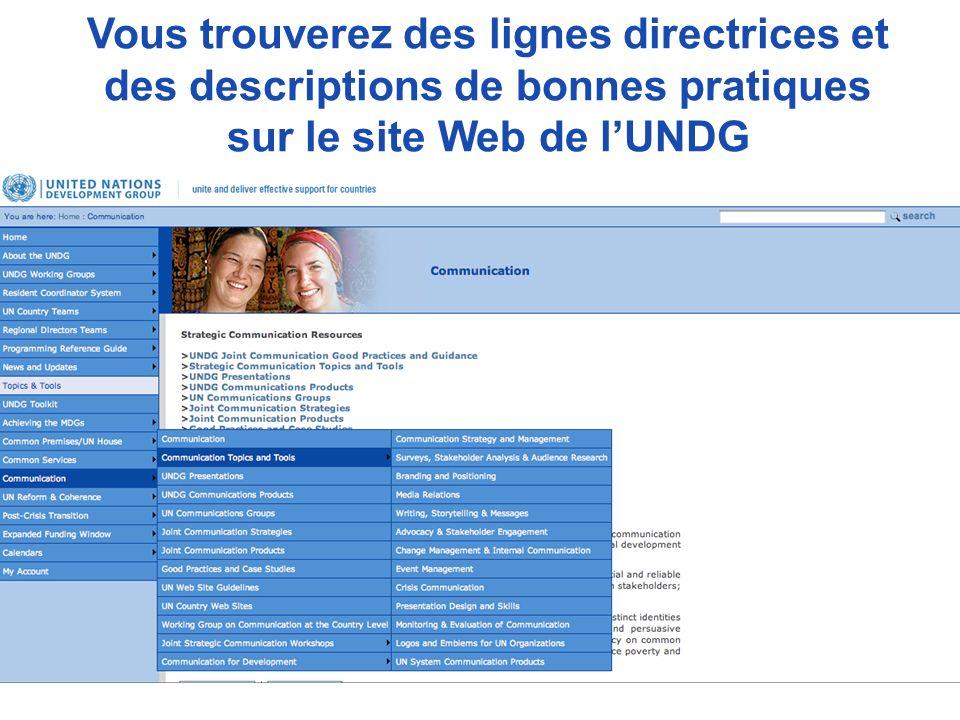 Vous trouverez des lignes directrices et des descriptions de bonnes pratiques sur le site Web de l'UNDG