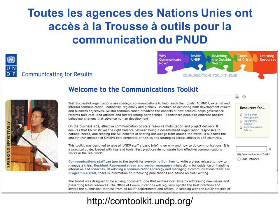 Toutes les agences des Nations Unies ont accès à la Trousse à outils pour la communication du PNUD