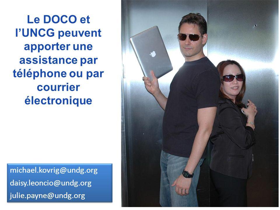 Le DOCO et l'UNCG peuvent apporter une assistance par téléphone ou par courrier électronique