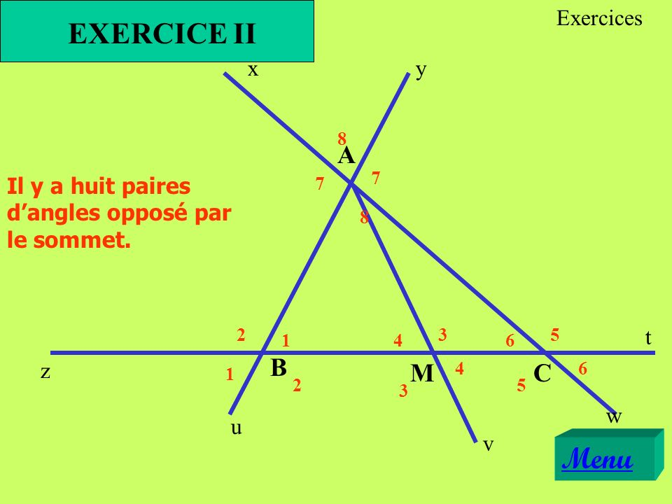 EXERCICE II Menu A B M C Exercices x y