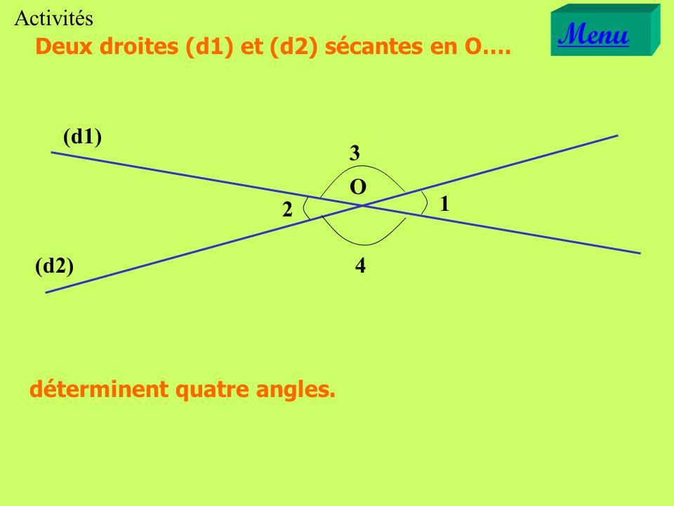 Menu Activités Deux droites (d1) et (d2) sécantes en O…. (d1) 3 O 1 2