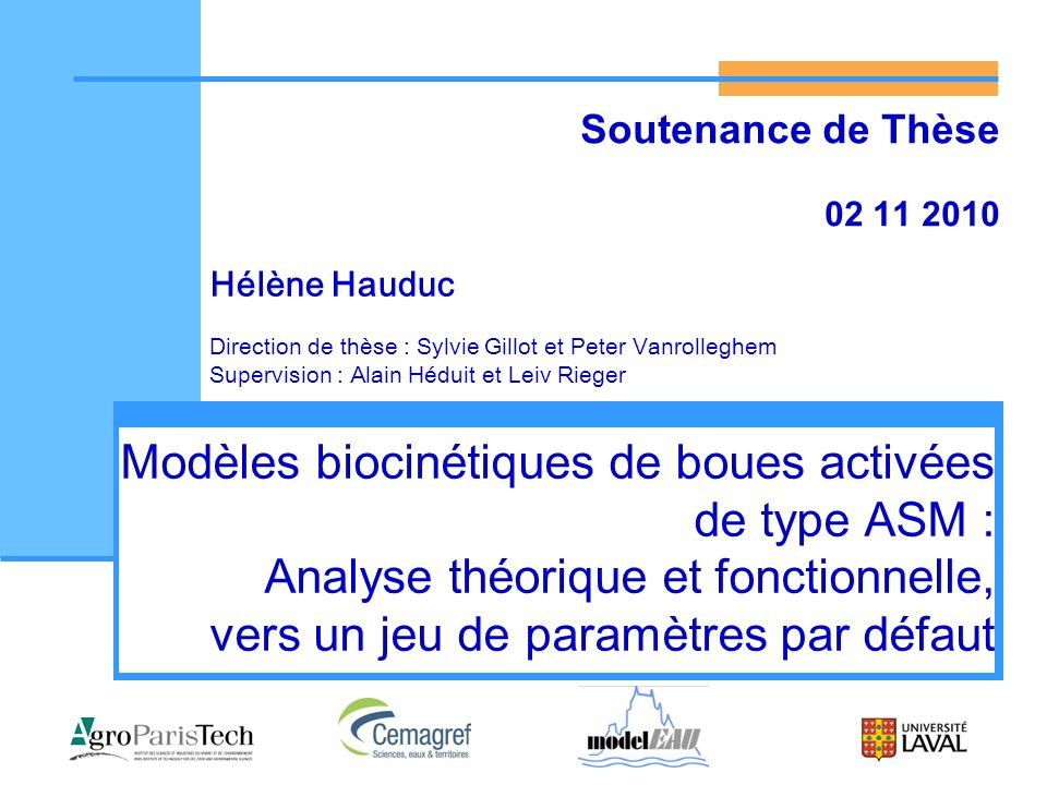 Soutenance de Thèse 02 11 2010. Hélène Hauduc. Direction de thèse : Sylvie Gillot et Peter Vanrolleghem.