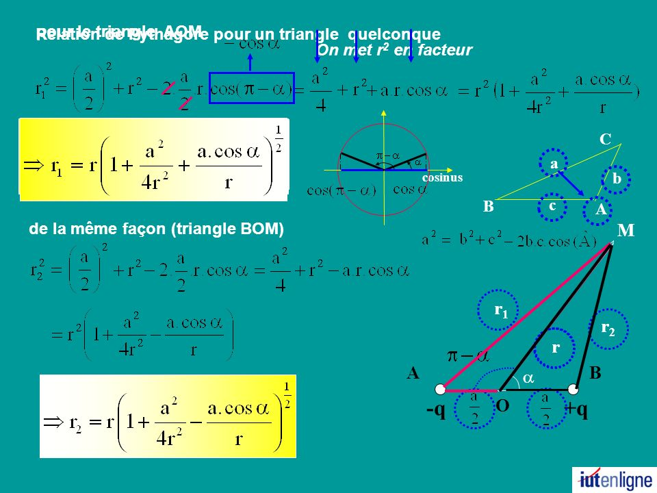 Relation de Pythagore pour un triangle quelconque