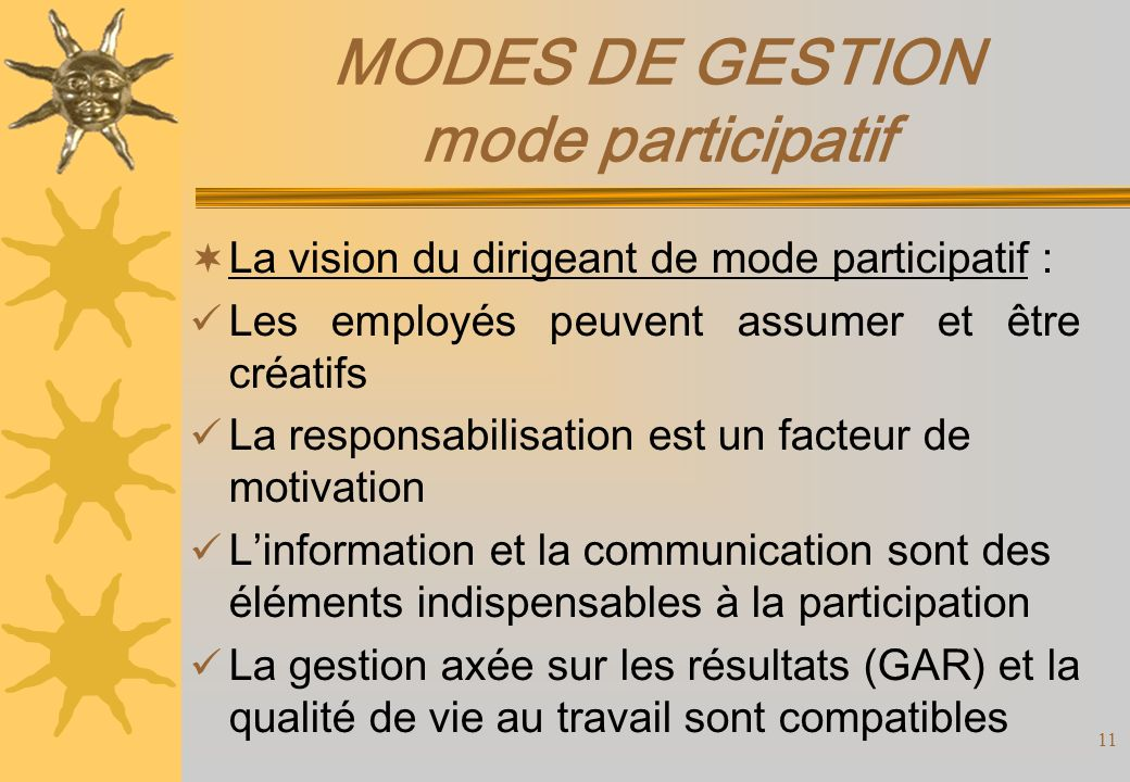 MODES DE GESTION mode participatif