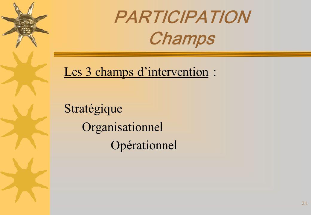 PARTICIPATION Champs Les 3 champs d'intervention : Stratégique
