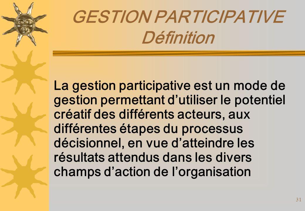GESTION PARTICIPATIVE Définition