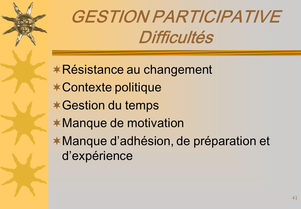 GESTION PARTICIPATIVE Difficultés