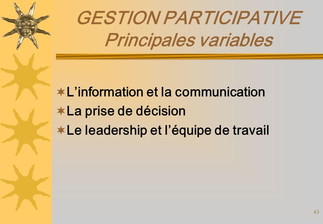 GESTION PARTICIPATIVE Principales variables