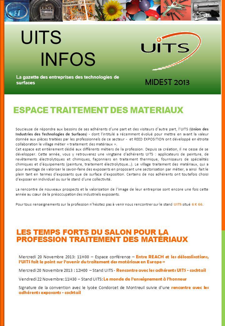 UITS INFOS MIDEST 2013 ESPACE TRAITEMENT DES MATERIAUX