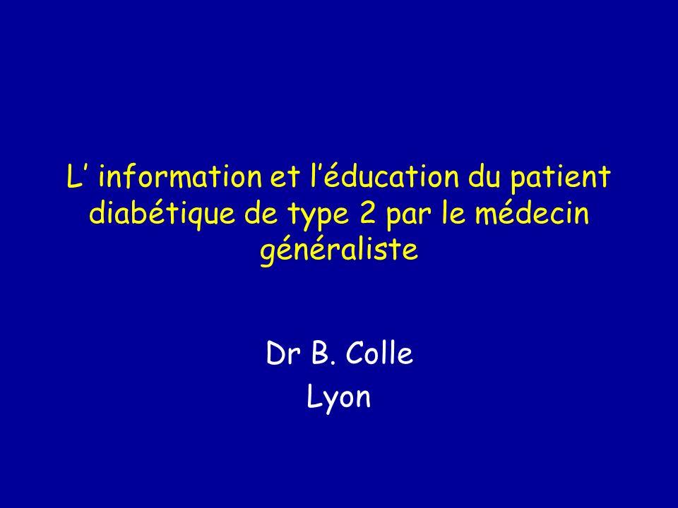 L' information et l'éducation du patient diabétique de type 2 par le médecin généraliste