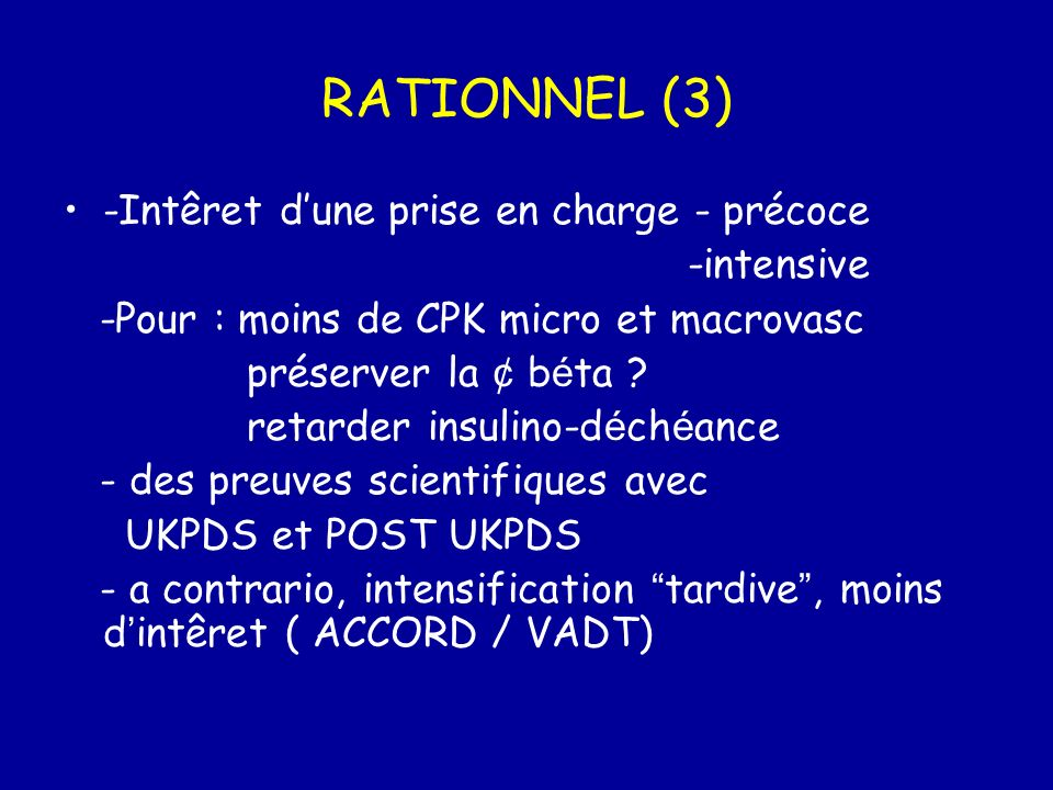 RATIONNEL (3) -Intêret d'une prise en charge - précoce -intensive
