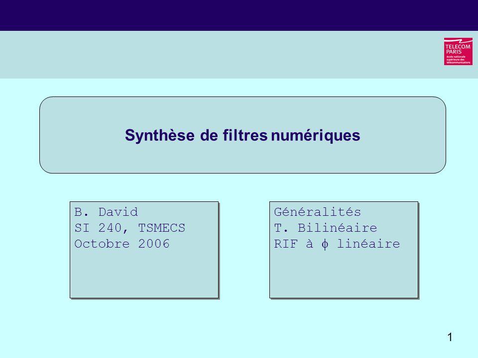 Synthèse de filtres numériques