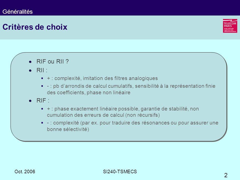 Critères de choix Généralités RIF ou RII RII : RIF :