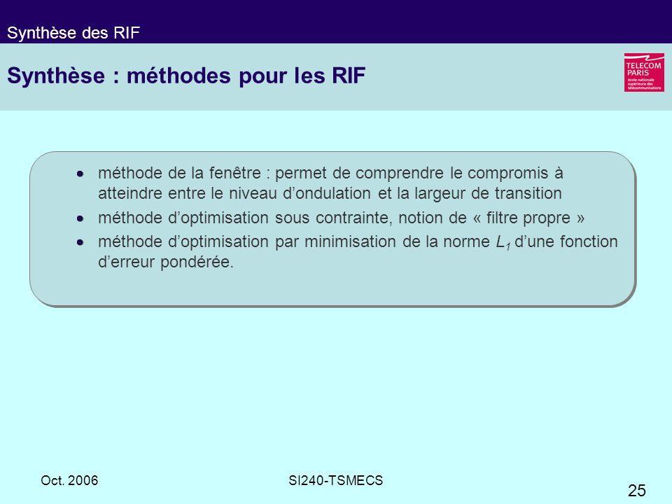 Synthèse : méthodes pour les RIF