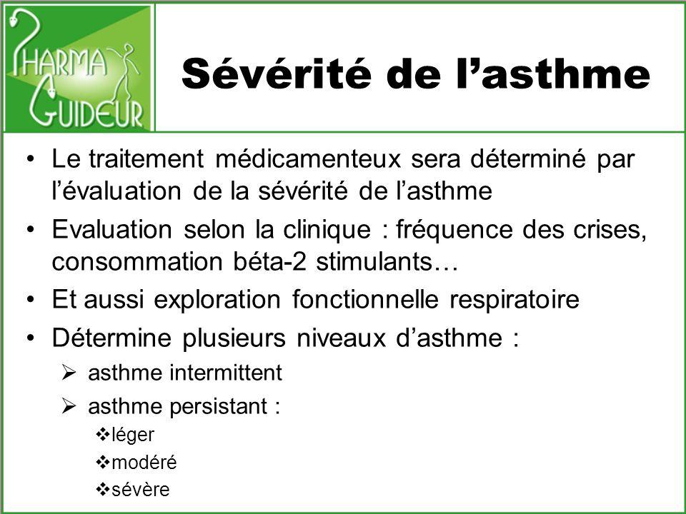 Sévérité de l'asthme Le traitement médicamenteux sera déterminé par l'évaluation de la sévérité de l'asthme.