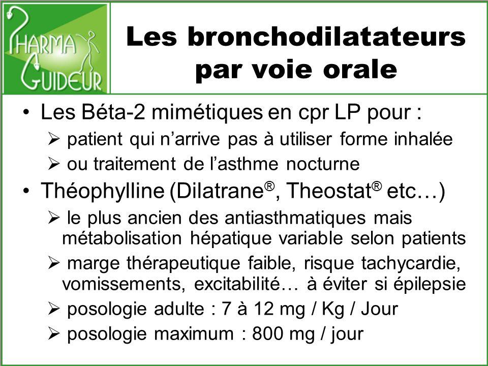 Les bronchodilatateurs par voie orale