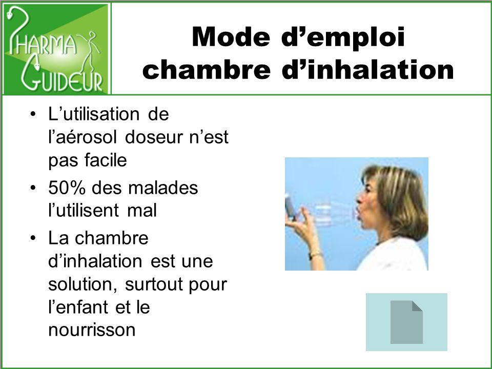 Mode d'emploi chambre d'inhalation