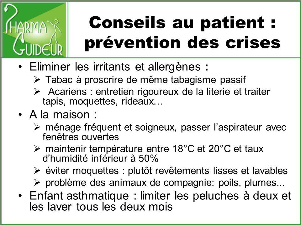 Conseils au patient : prévention des crises