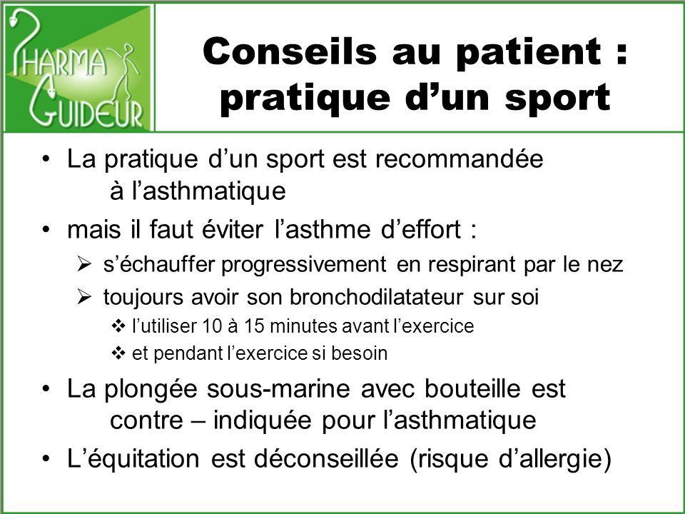 Conseils au patient : pratique d'un sport
