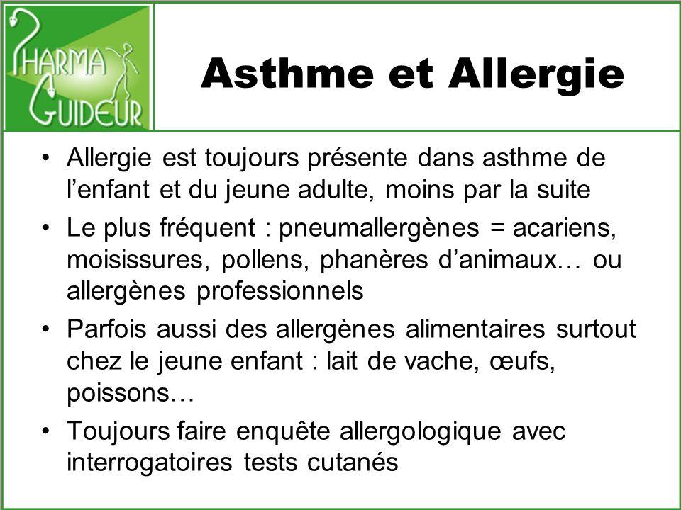 Asthme et Allergie Allergie est toujours présente dans asthme de l'enfant et du jeune adulte, moins par la suite.