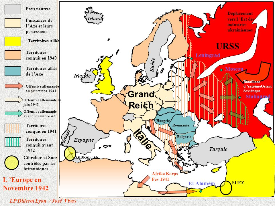 Italie URSS Grand Reich L 'Europe en Novembre 1942 Leningrad Suède