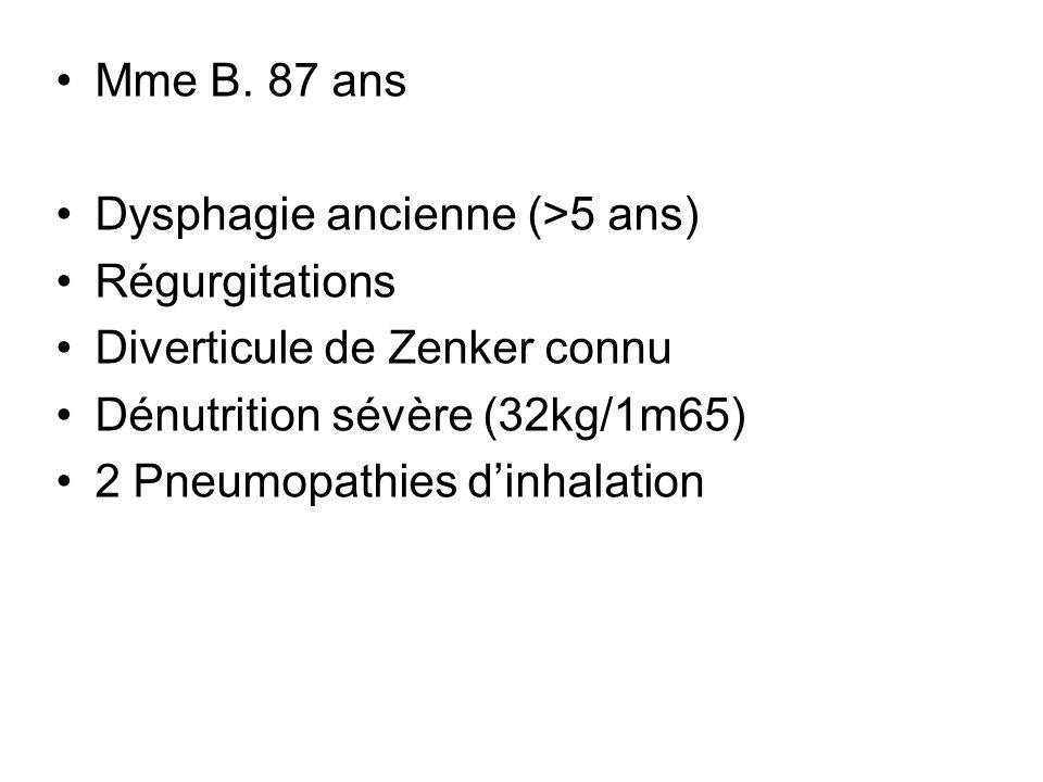 Mme B. 87 ans Dysphagie ancienne (>5 ans) Régurgitations. Diverticule de Zenker connu. Dénutrition sévère (32kg/1m65)