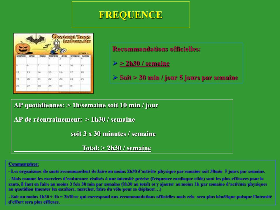 FREQUENCE Recommandations officielles: > 2h30 / semaine
