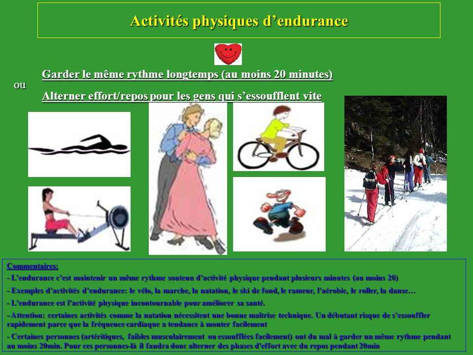 Activités physiques d'endurance
