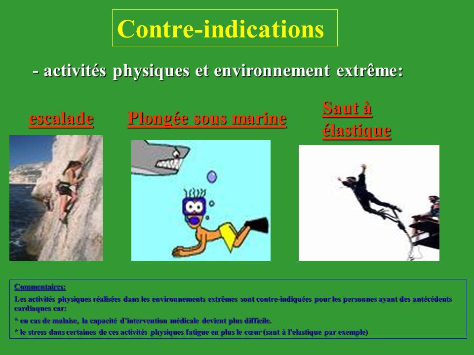 Contre-indications - activités physiques et environnement extrême: