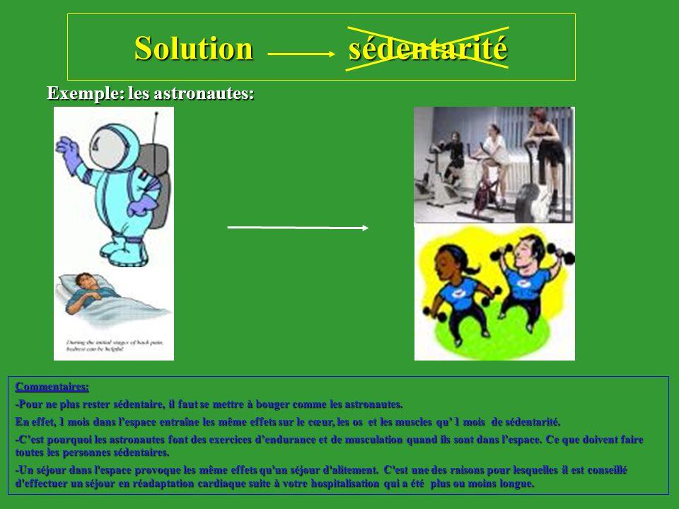 Solution sédentarité Exemple: les astronautes: