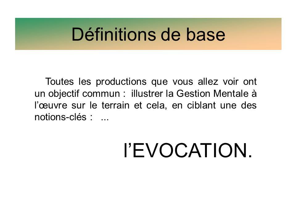 Définitions de base l'EVOCATION.