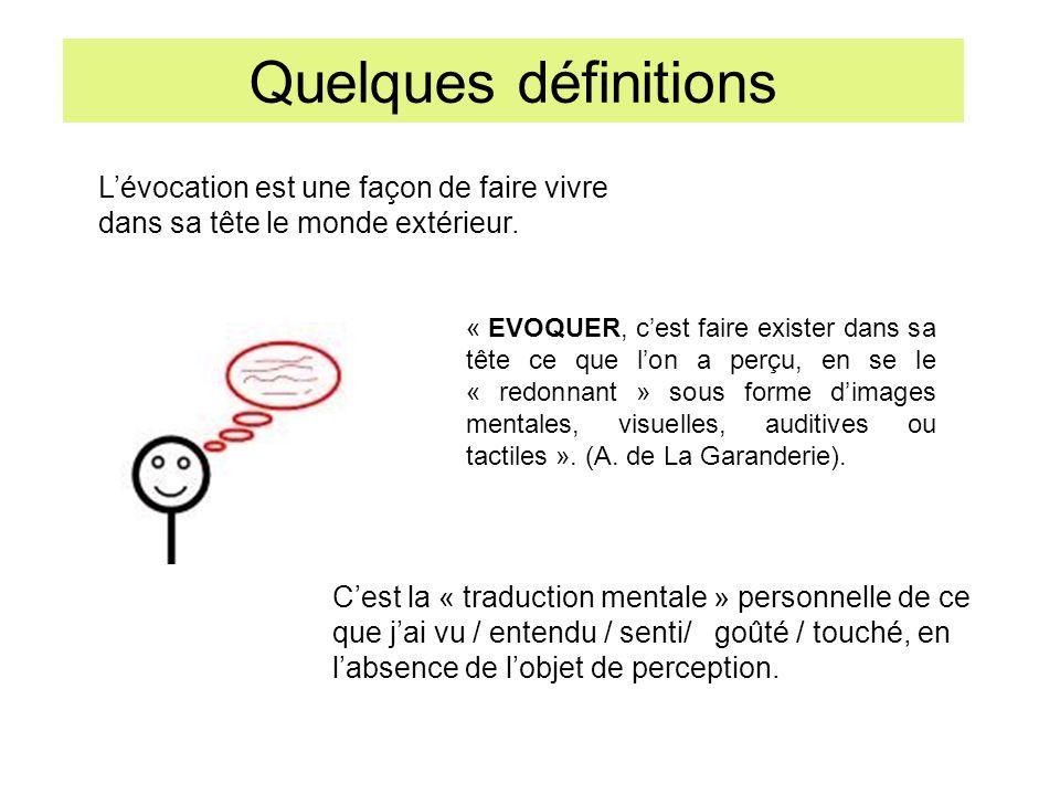 Quelques définitions L'évocation est une façon de faire vivre dans sa tête le monde extérieur.